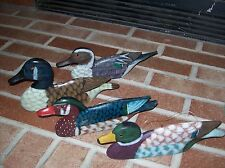 Wooden Hanging Ducks Set of 4 approx. 9 inches long
