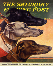 Saturday Evening Post March 1941 Trio of Greyhounds art poster print  SKU2607