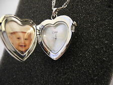 COLIBRI  HEART SHAPE MOTHER OF PEARL FACE PENDANT WATCH W/DIAMOND NEW  REDUCED
