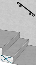 Iron X Handrail Wall #2 Fits 1 or 2 Steps