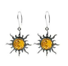 Natural Honey Amber Sun Fish-Hook Earrings in Sterling Silver made in Poland