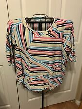 Women's Clothing Westbound Woman Striped Blouse Shirt Top Size 3X