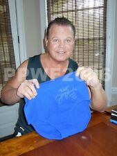 WWE JERRY THE KING LAWLER RING WORN HAND SIGNED BLUE TRUNKS WITH PIC PROOF COA