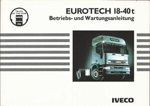LKW   IVECO   EUROTECH  18 - 40 t   Handbuch   1993   Betriebsanleitung   BA
