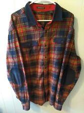 SEANJOHN Men's 3XL Tailored Fit Eblow Patch Red Blue Plaid Flannel Shirt Euc!