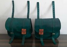 Leather Saddlebags Motorcycle Side Pouch Dark Green Saddle Panniers 2 Bags
