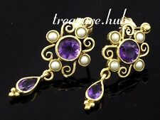 E123 Victorian style Genuine 9ct Gold Natural Amethyst Pearl Drop Stud Earrings