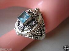 Aufwendiger 925 Silber Ring Giftring Versteck blauer Farbstein 5,7 g/RG 57