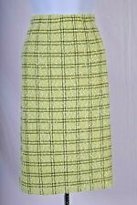 ST.JOHN Couture Womens White Green Black Plaid Tweed Knit Skirt Sz 10