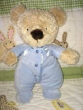 Carters Tan Teddy bear Light Blue Romper sleeper suit 3 sewn buttons satin bow