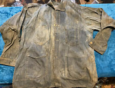 Antique Denim Jacket Miners Railroad Work Chore Coat train buttons 1920-1930