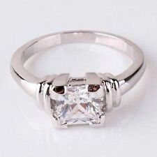 18K White Gold On Sterling 1.14 Ct Simulated Moissanite Princess Cut Ring Size 8