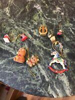 Vintage Set Of 8 Figurines Miniature Holiday Mini Christmas Tree Hangers