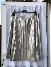 BEAUTIFUL PLEATED SILVERY GOLD TWO TONE SKIRT SZ 22