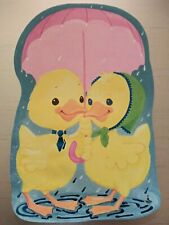 Notepad-Shimmering Foil Highlights-Spring Ducks W/Umbrella-Blue, Pink, Yellow