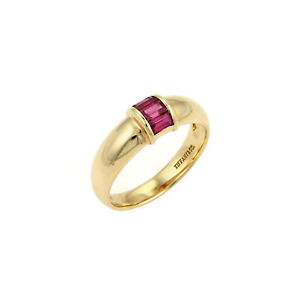 Tiffany & Co. Baguette Ruby 18k Yellow Gold Dome Band Ring Size 5