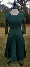 Long Green Dress With Lace Sleeves, Size Meidum, Womens