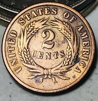1866 Two Cent Piece 2C High Grade Details Good Civil War US Copper Coin CC5916