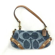 Coach Logo Denim Handbag shoulder bag small jean blue zipper closure wristlet
