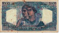 Vintage Banknote France 1946 1000 Francs Pick 130a US Seller