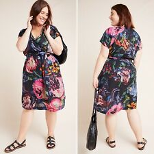 A+ Anthropologie Astrid Needlepoint Floral Wrap Dress Size 1X