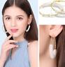 Fashion Geometric Classic Big Circle Pearl Ear Hoop Earrings Korean Jewelry Gift