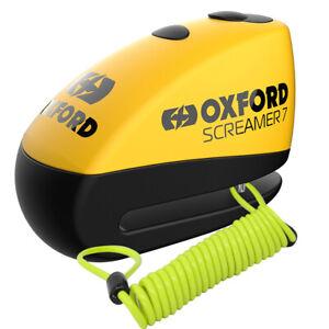Oxford Yellow Screamer7 Motocycle Motorbike Alarm Disc Lock &1.5m Reminder Cable