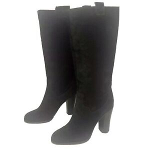 BOUTIQUE 9 Belinda Womens Black Leather Suede Mid-Calf Boots  Size 6 M
