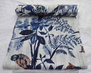 100%Cotton Hand Block Owl Print Indian Bed Cover Kantha Quilt Bedspread Blanket