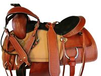 WESTERN HORSE SADDLE 16 17 COWBOY ROPING PLEASURE TOOLED BROWN LEATHER TACK SET