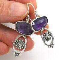 925 Silver Women Jewelry Vintage Amethyst Ear Hook Wedding Dangle Drop Earrings