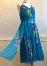 COAST 100% SILK Teal Turquoise Ribbon Fairytale Halterneck Summer Dress Med 14