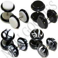 W124 White Black Marble Fake Cheaters Illusion Faux Ear Plugs 0G (8mm) 8pcs