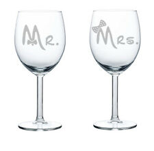 Wine Glass White Red 10oz Set of 2 Engagement Wedding Bride Groom Mr. Mrs. Bows