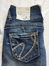 Vanity Jeans 25x33 Flare Uplift Light Distressed Button Fly Thick Stitch NWT