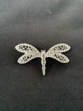 Pin Rhinestone Crystal Silver Tone Women Retro Dragonfly Insect Brooch