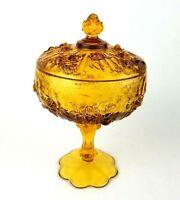 Vintage Fenton Cabbage Rose Amber Glass Lidded Pedestal Candy Dish Compote Bowl