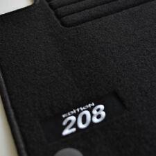 4 TAPIS SOL MOQUETTE LOGO BLANC SPECIFIQUE PEUGEOT 208 A PARTIR DE 2012 TOUS