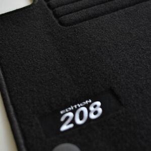 4 TAPIS SOL PEUGEOT 208 A PARTIR DE 2012 TOUS MOQUETTE LOGO BLANC SPECIFIQUE