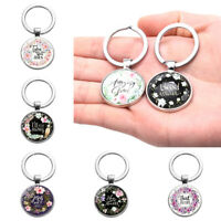 Bible Verse Keychain Bible Letters Glass Cabochon Metal Keyring Christian Gi WG