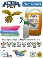 Fresh Pet Bird Cage Disinfectant - 5L - With Spray Bottle - Peach And Papaya