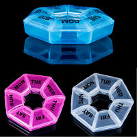 7 Day Pill Box Weekly Round Box Medicine Tablet Case Container Storage Holder
