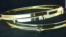 "Ludwig NEW Brass Plated Die Cast Snare Drum Hoops 14"" PAIR 10 Hole/Lug"