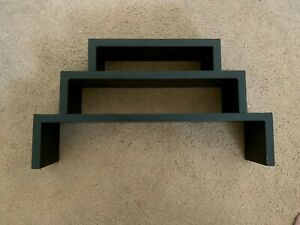 3 Tier Wooden Shelf, Black, Small to Large, Stackable / Separate, Wall Mountable