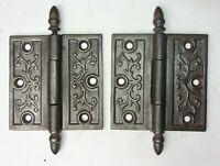 "Pair of Antique Vintage Cast Iron Ornate Eastlake Victorian Door Hinges 4"" x 4"""