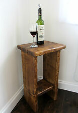 CHUNKY RUSTIC PLANK WOOD FARMHOUSE STYLE SIDE TABLE END TABLE BEDSIDE TABLE