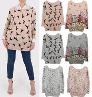 Ladies New Long Sleeve  Loose Knitted Sweater Women Casual Jumper Tops 8-16 UK