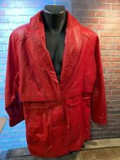 WILSON Leather Jacket Red Women's Coat Size Size M