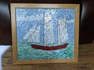 Vintage Mosaic Glass Ship Framed Picture