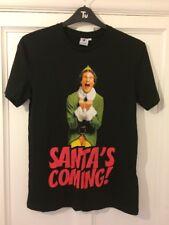 Brand New With Tags TU ELF 'Santa's Coming!' Black Christmas Tshirt Size Small